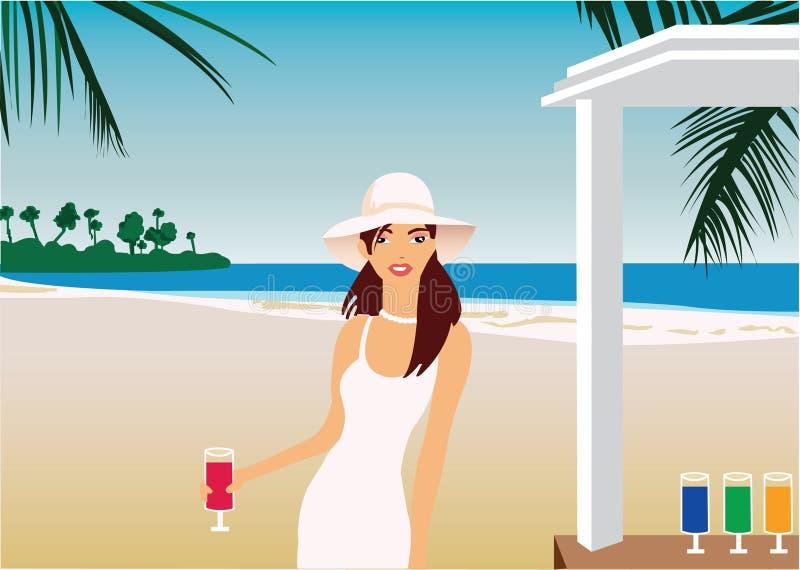 Ragazza in vestito e cappello bianchi ad una barra della spiaggia fotografie stock libere da diritti