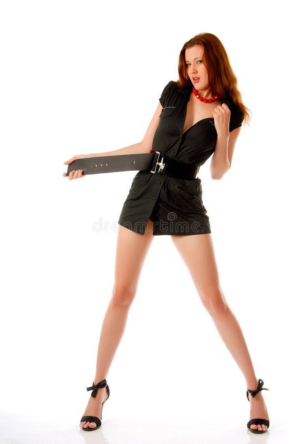 Ragazza in vestito nero fotografie stock
