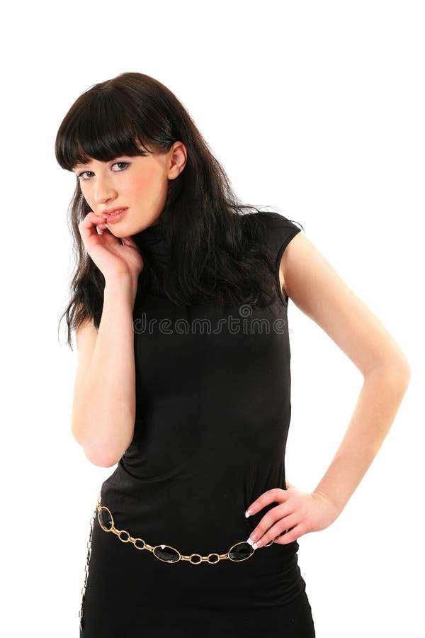 Ragazza in vestito scuro immagine stock