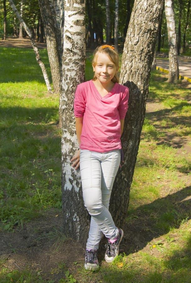 Ragazza vicino agli alberi di betulla immagine stock