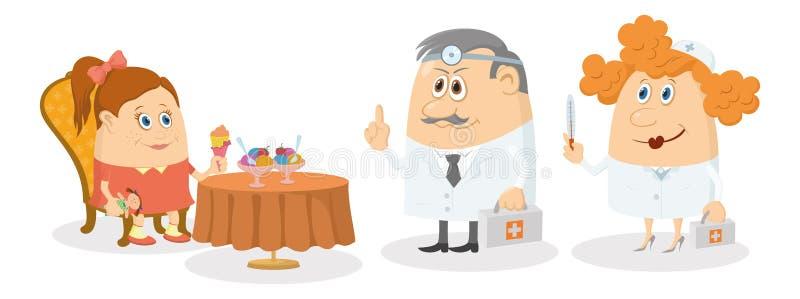 Ragazza vicino alla tavola con gelato e medici illustrazione di stock
