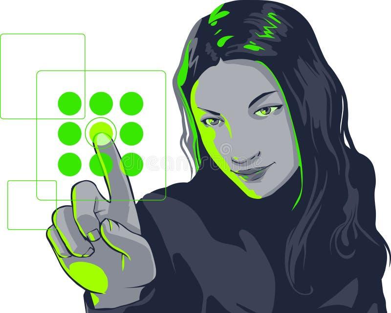 Ragazza virtuale isolata illustrazione di stock