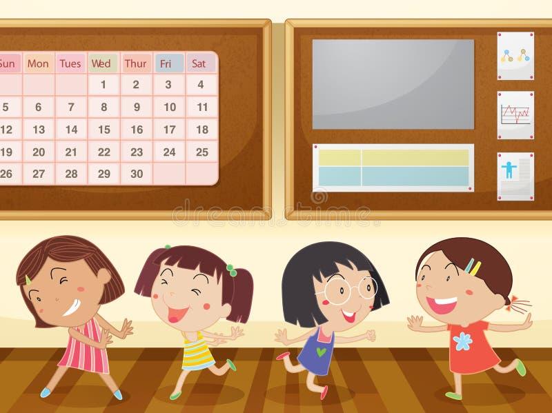 Ragazze in aula illustrazione di stock