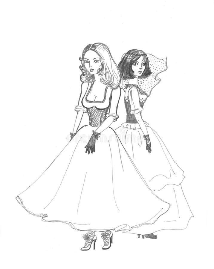 Ragazze in bianco e nero di bellezza illustrazione di stock