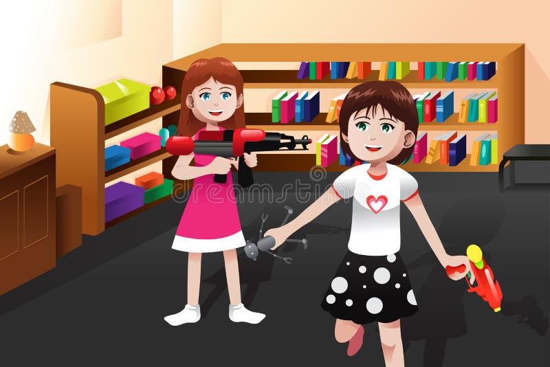 Ragazze che giocano con i giocattoli dei ragazzi illustrazione vettoriale