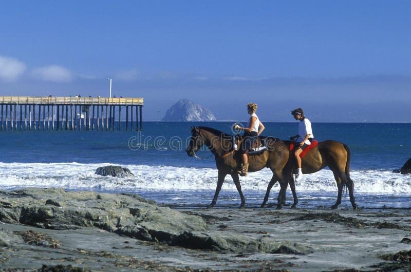 Ragazze che guidano a cavallo sulla spiaggia, baia di Morro, CA fotografia stock