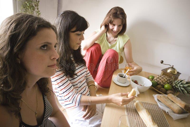 Ragazze che hanno pranzo fotografie stock libere da diritti