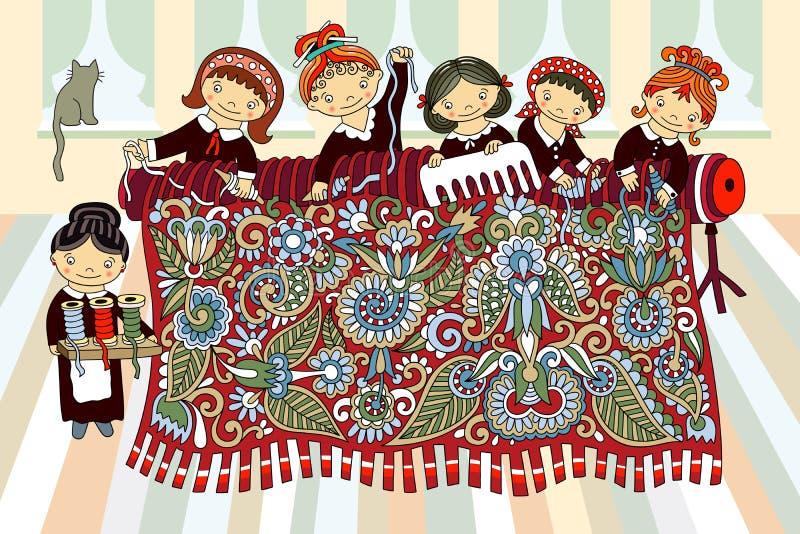 Ragazze che lavorano alla tessitura di telaio a mano illustrazione di stock