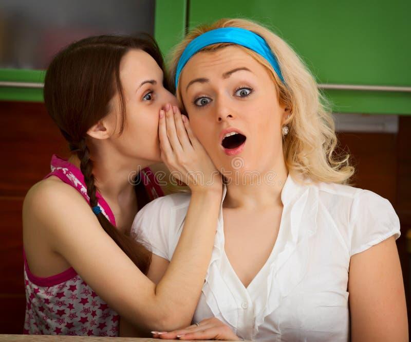 Ragazze che pettegolano nella cucina immagine stock