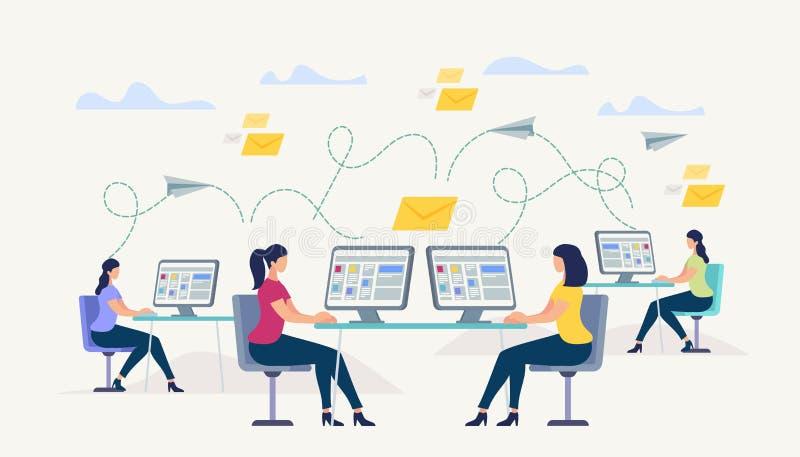 Ragazze che si siedono al monitor del computer Chiacchierata della gente illustrazione di stock