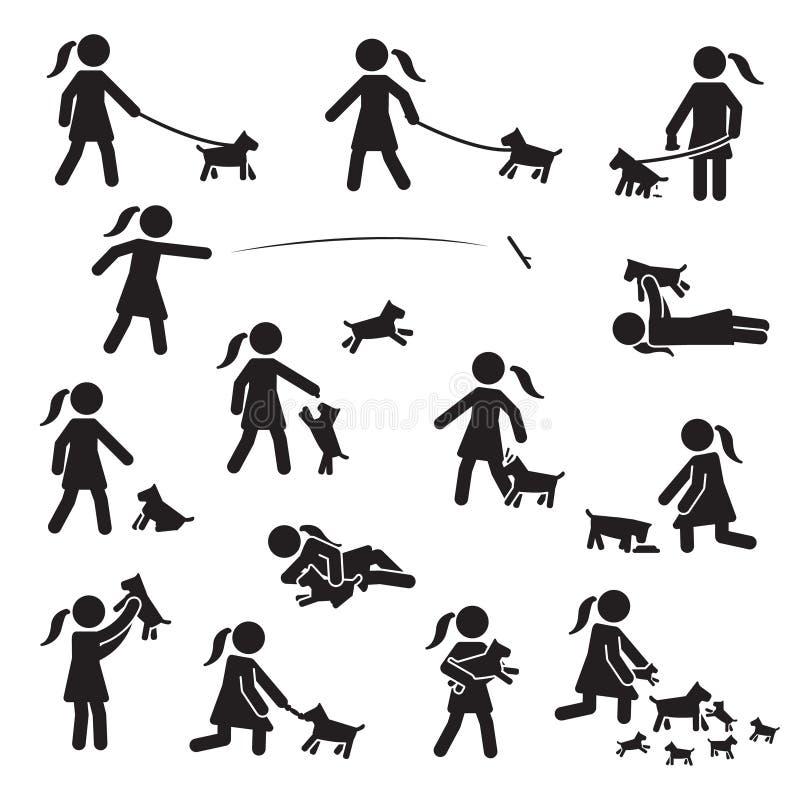 Ragazze con il piccolo insieme dell'icona dei cani del pane Vettore illustrazione vettoriale