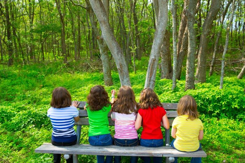 Ragazze dei bambini che si siedono sul banco di parco che esamina foresta fotografie stock libere da diritti