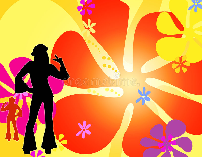 Ragazze del hippie della siluetta di Dancing immagine stock libera da diritti