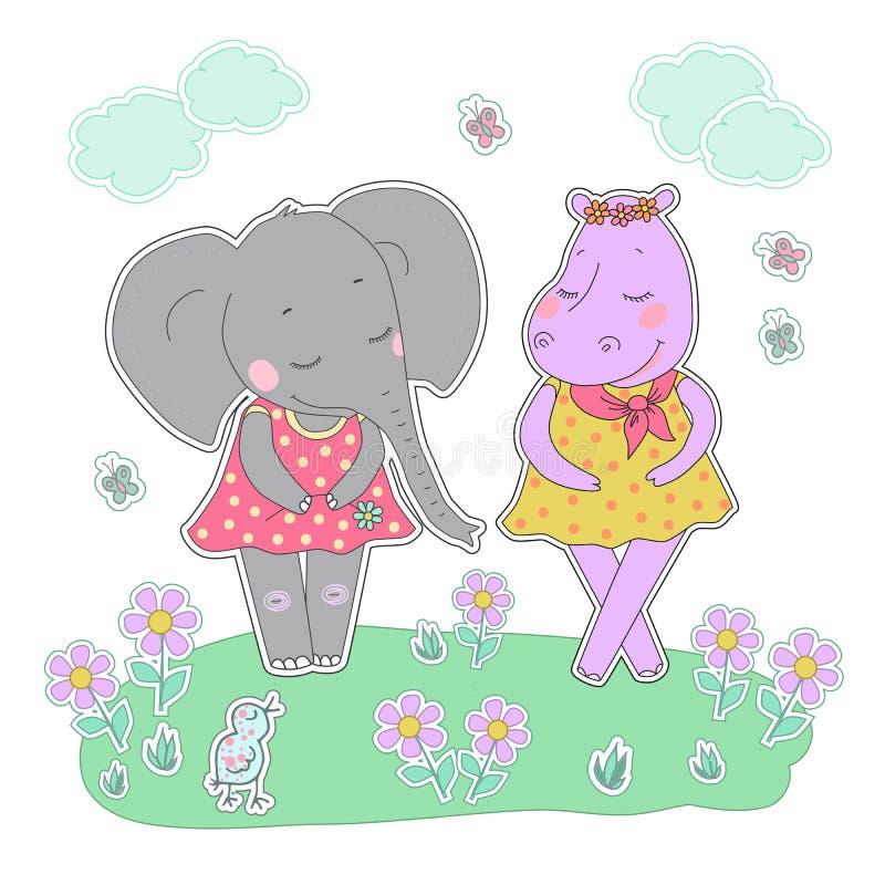 Ragazze dell'elefante e dell'ippopotamo con gli occhi chiusi che hanno una corona del fiore sulla testa illustrazione di stock