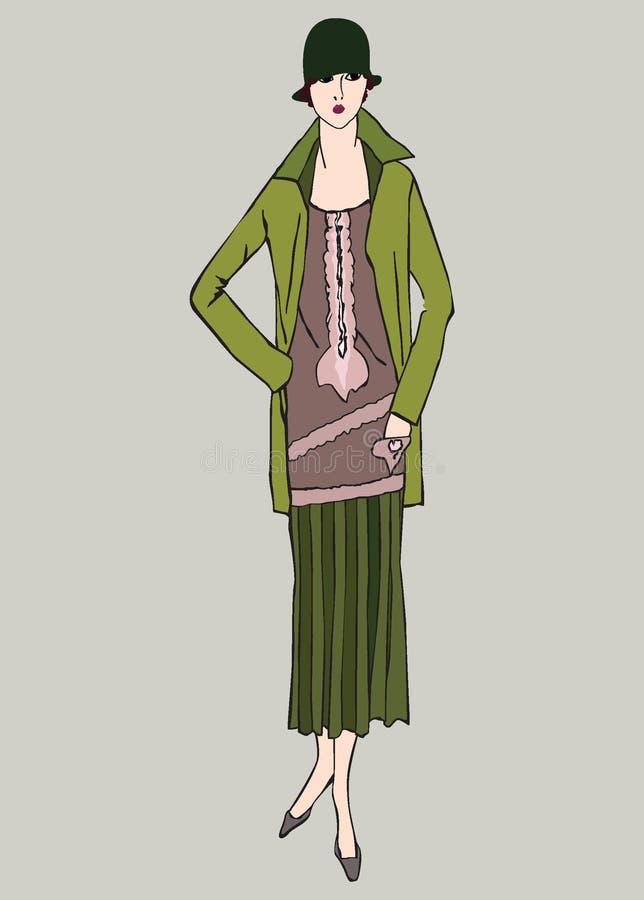 Ragazze della falda di 20s: Retro partito di modo illustrazione di stock