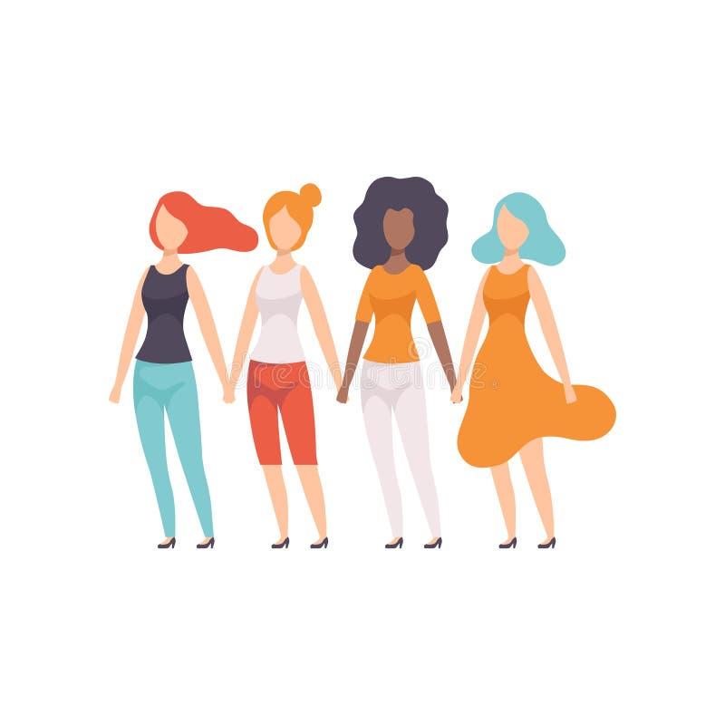 Ragazze delle nazionalità differenti che si tengono per mano, giovani donne che sostengono per l'uguaglianza di genere, libertà,  royalty illustrazione gratis