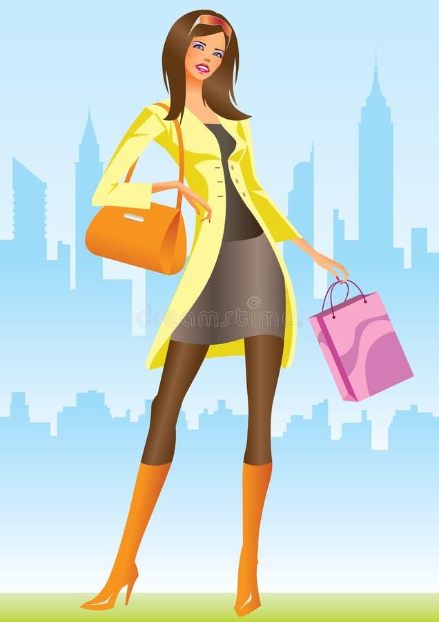 Ragazze di acquisto con il sacchetto di acquisto a New York illustrazione di stock