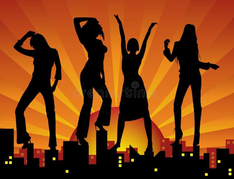 Ragazze di Dancing sulla città illustrazione vettoriale