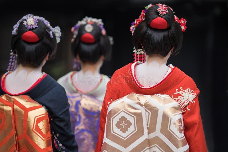 Ragazze di geisha nel Giappone immagini stock libere da diritti