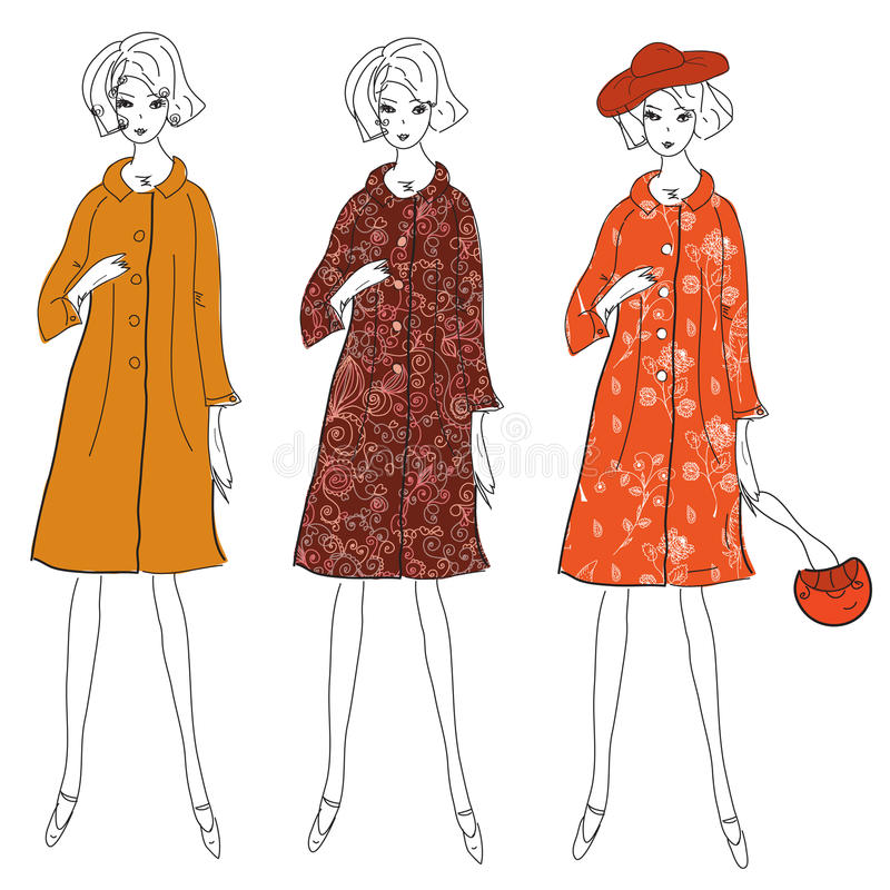Ragazze di modo in cappotti di inverno illustrazione vettoriale