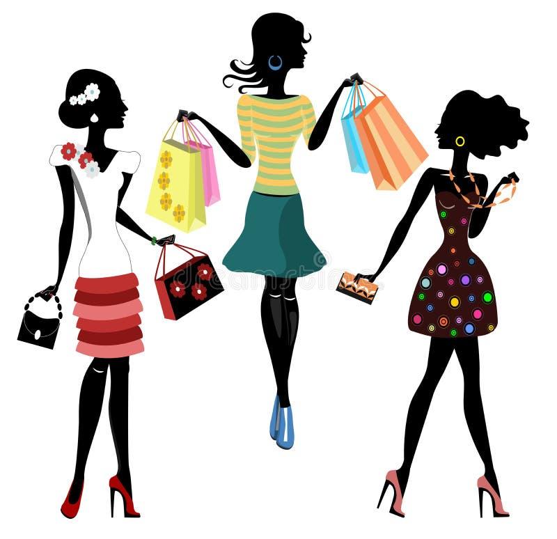 Ragazze di modo con le borse, siluette royalty illustrazione gratis