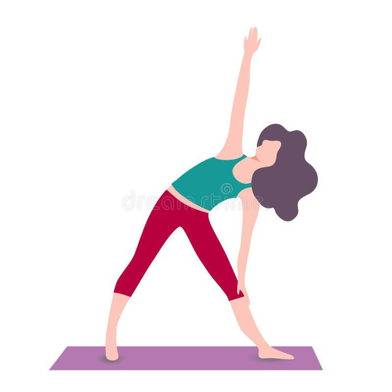 Ragazze di yoga del fumetto Giovani donne nelle pose di asanas carattere di forma fisica illustrazione vettoriale