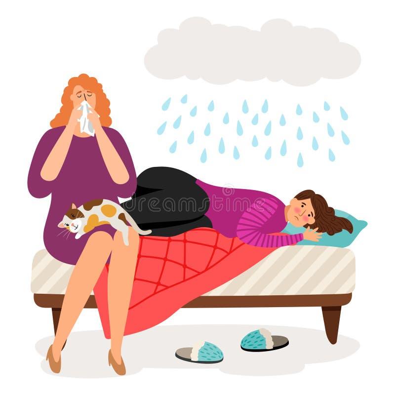 Ragazze e pioggia depresse sveglie illustrazione vettoriale