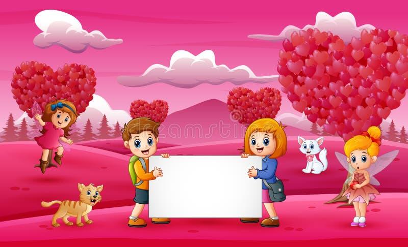 Ragazze e ragazzi che tengono i bordi bianchi nel giardino rosa royalty illustrazione gratis