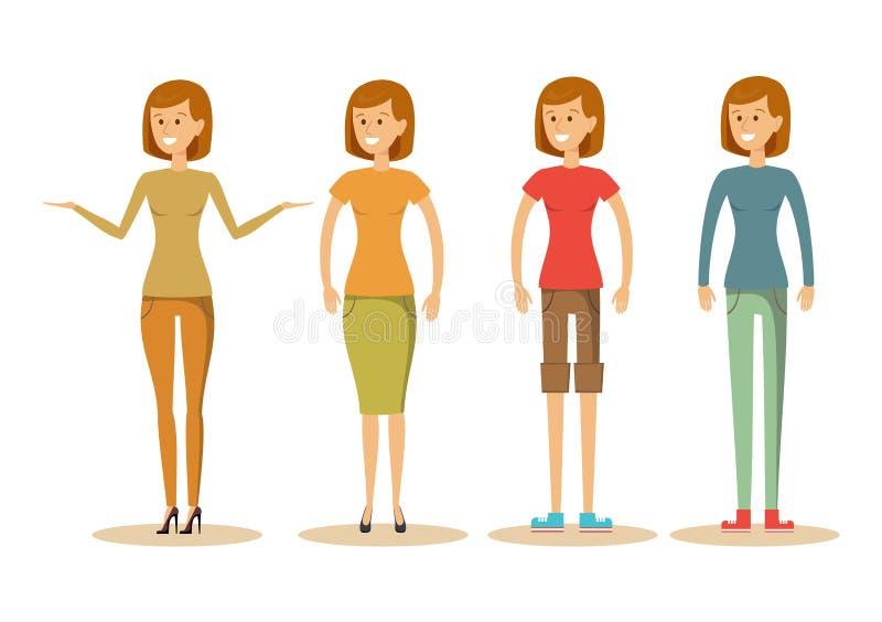 Ragazze nei vestiti di estate o di primavera illustrazione di stock