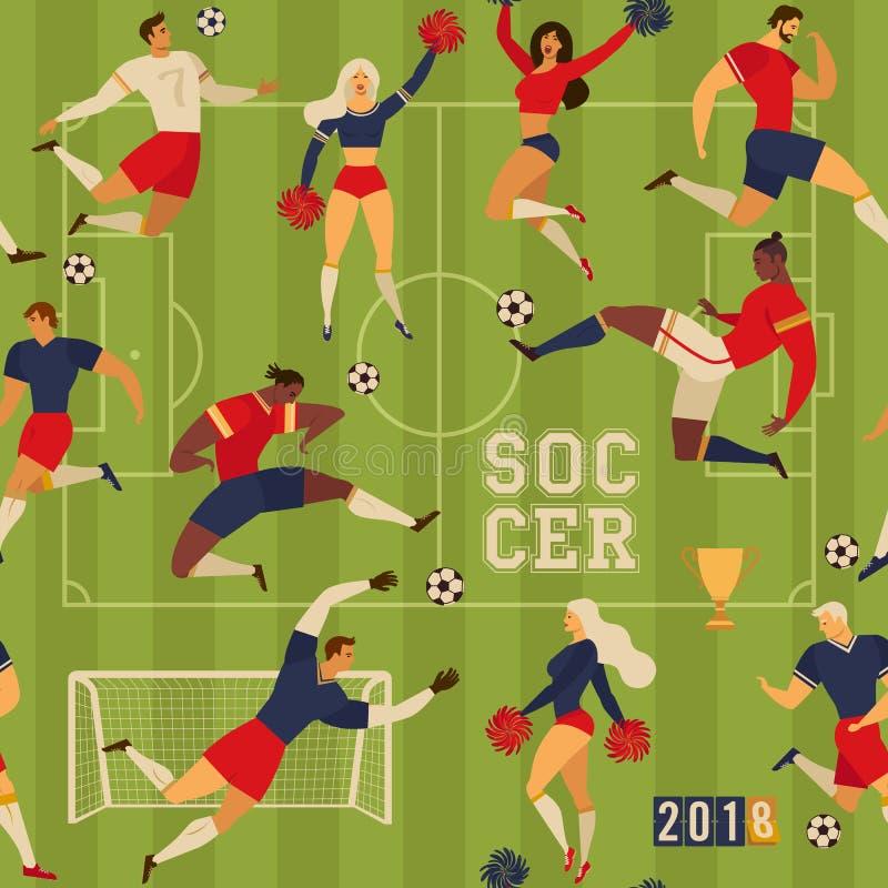 Ragazze pon pon dei calciatori di calcio illustrazione vettoriale