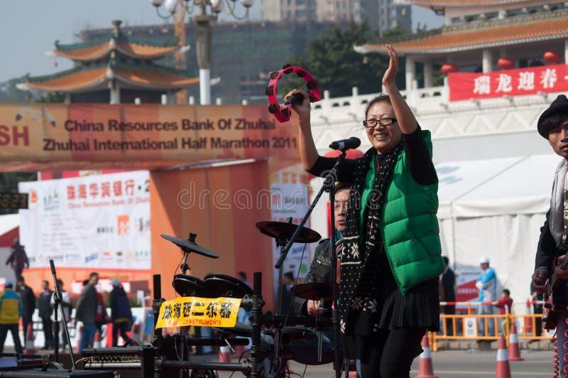 Ragazze pon pon sulla maratona 2011 di zhuhai fotografia stock