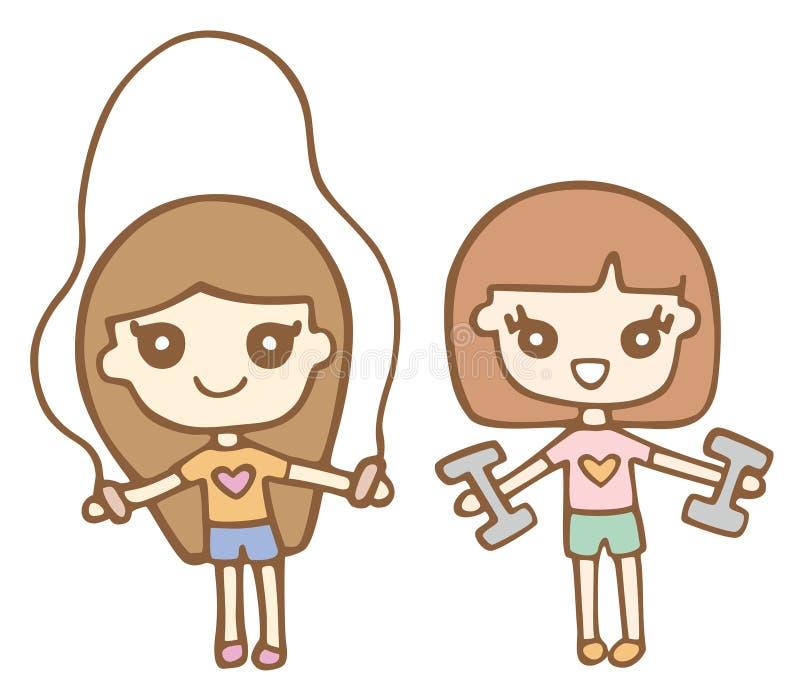 Ragazze sveglie del fumetto che esercitano e che usando Dumbells illustrazione di stock