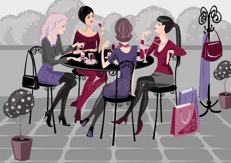 Ragazze in un caffè della via illustrazione vettoriale