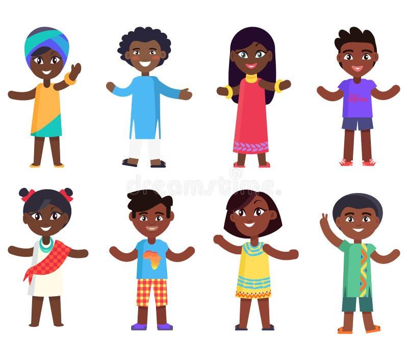 Ragazzi africani dei bambini e vettore isolato ragazze illustrazione di stock