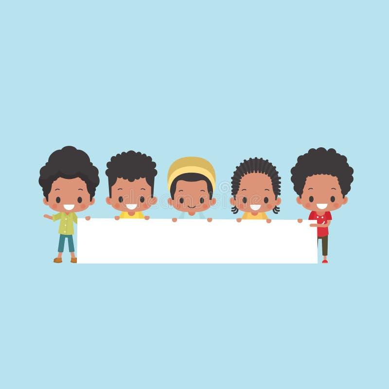 Ragazzi afroamericani con l'insegna in bianco illustrazione di stock