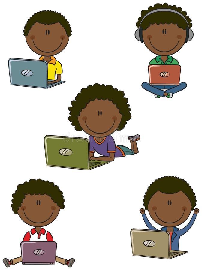 Ragazzi allegri del African-American con i computer portatili illustrazione di stock