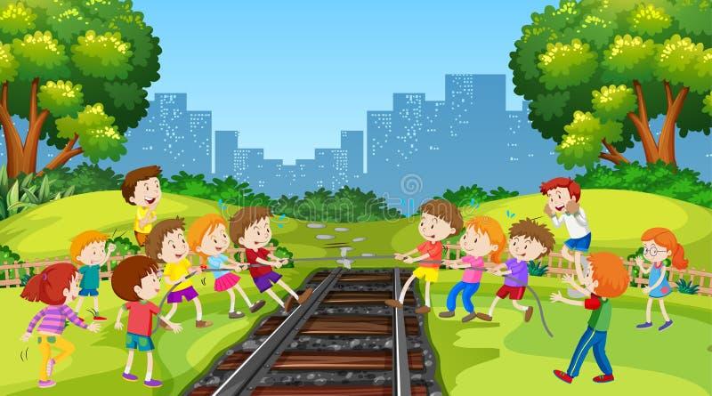 Ragazzi attivi e ragazze che giocano le attività di divertimento e di sport fuori royalty illustrazione gratis