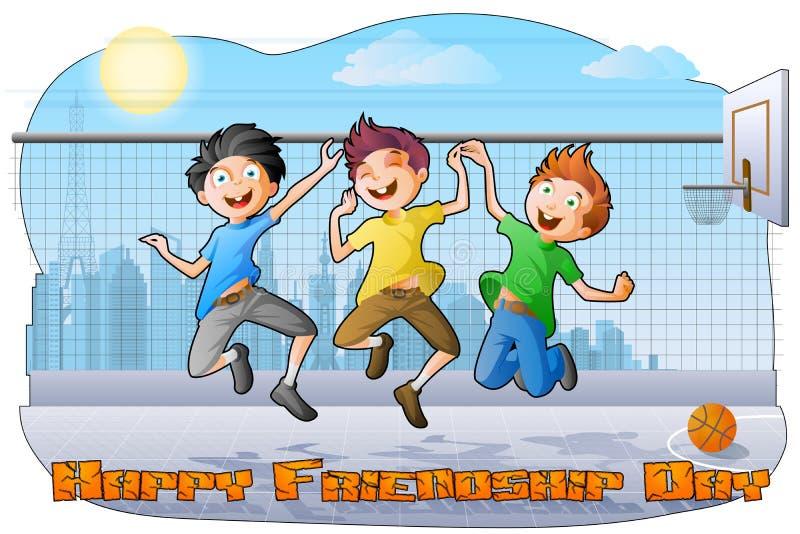 Ragazzi che celebrano giorno di amicizia illustrazione di stock