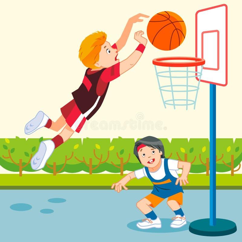 Ragazzi che giocano a basket in un parco giochi Vignetta, illustrazione vettoriale di stile piatto fotografia stock