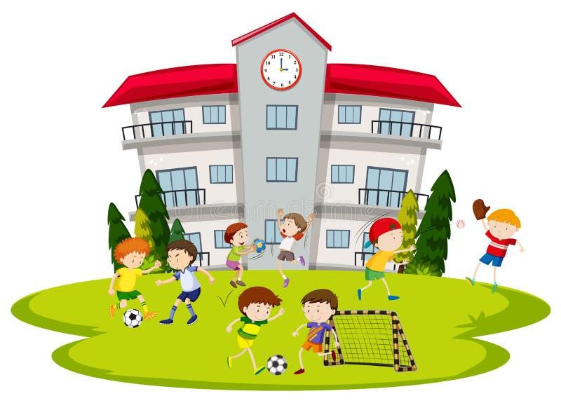 Ragazzi che giocano a calcio alla scuola illustrazione di stock