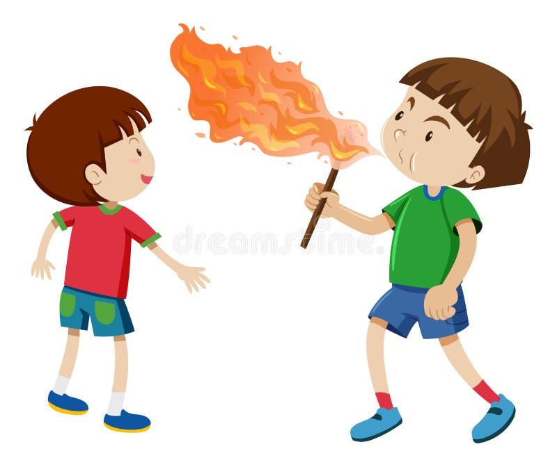 Ragazzi che giocano con il fuoco royalty illustrazione gratis