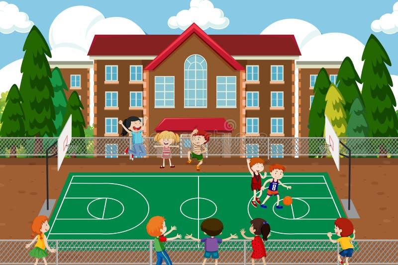 Ragazzi che giocano gioco di pallacanestro illustrazione vettoriale