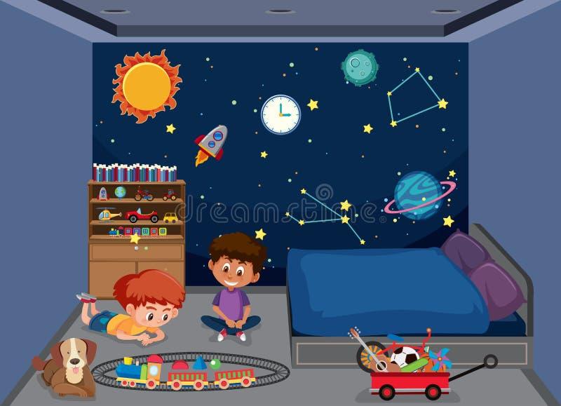 Ragazzi che giocano nella camera da letto royalty illustrazione gratis