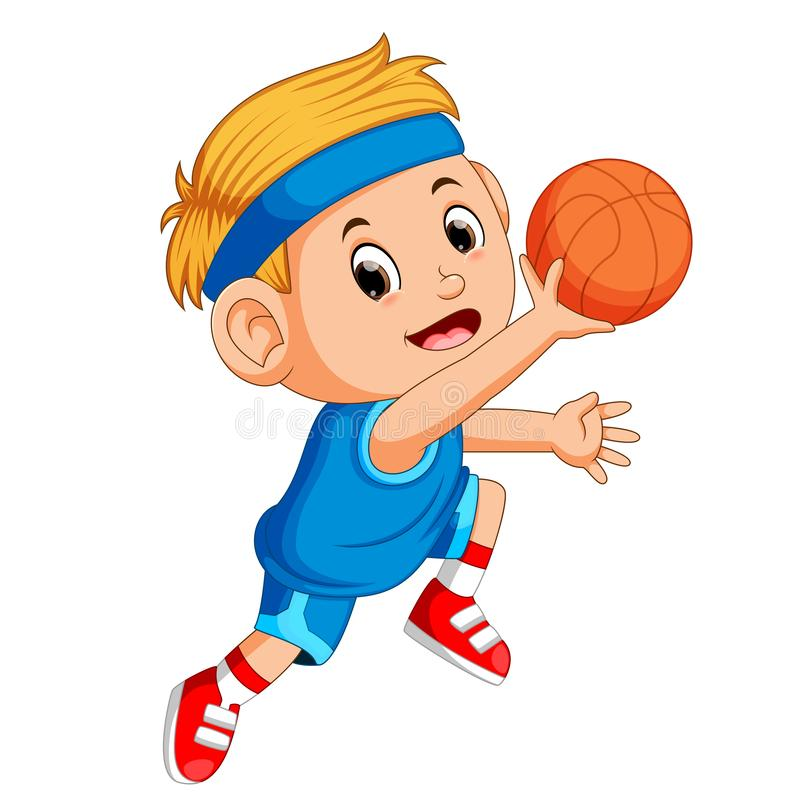 Ragazzi che giocano sport di pallacanestro royalty illustrazione gratis