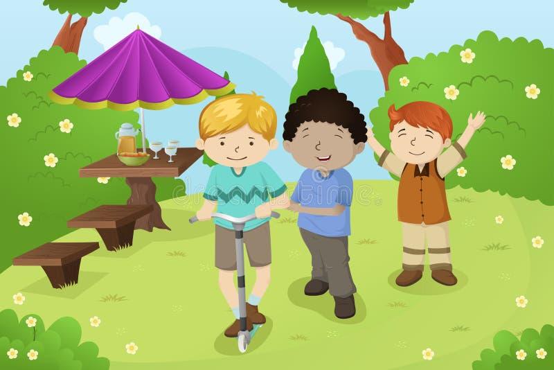 Ragazzi che giocano in un parco illustrazione vettoriale
