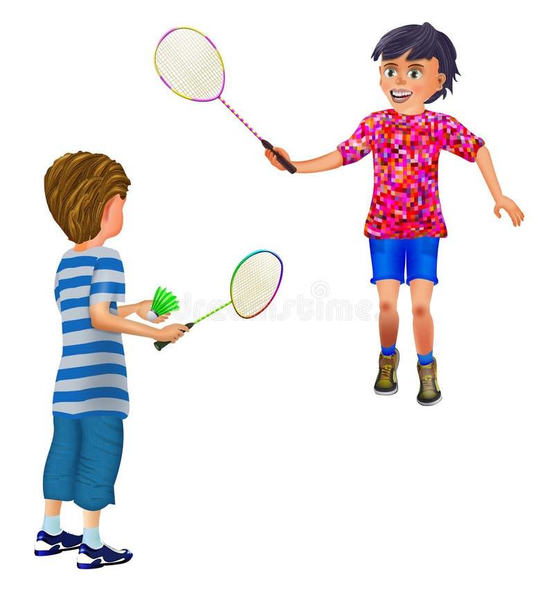 2 ragazzi che giocano volano illustrazione vettoriale