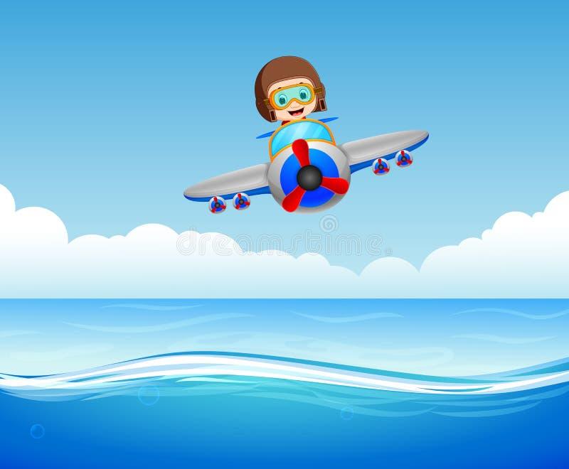 Ragazzi che guidano aereo sopra il mare illustrazione di stock