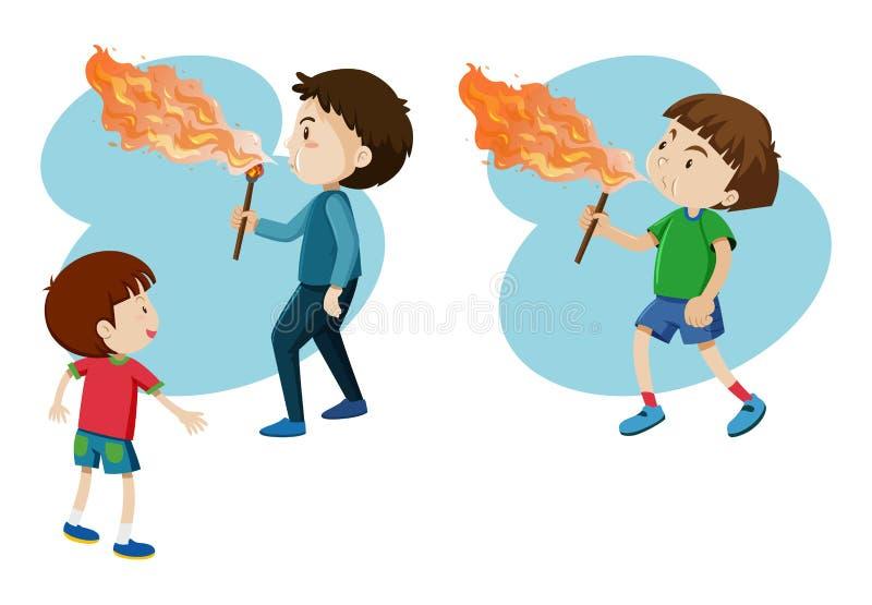 Ragazzi che soffiano fuoco sul bastone illustrazione di stock