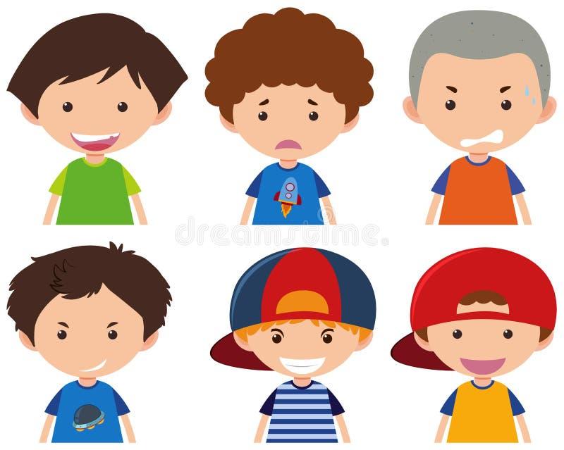 Ragazzi con differenti espressioni facciali illustrazione di stock