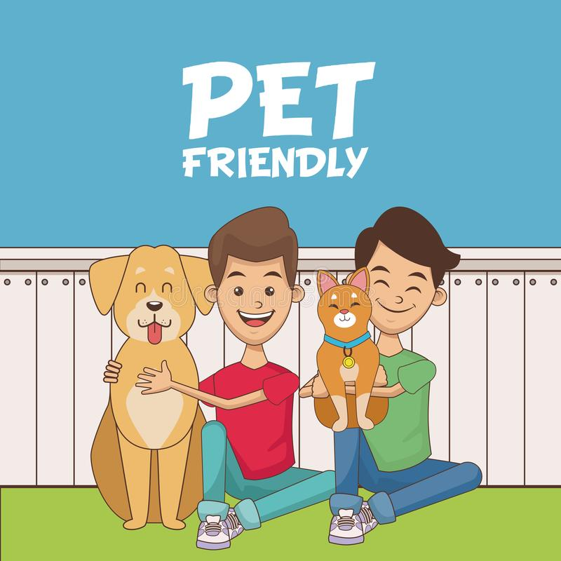 Ragazzi con il fumetto degli animali domestici royalty illustrazione gratis